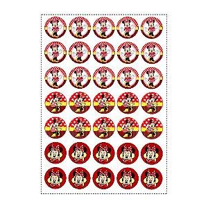35 Adesivos Minnie Vermelha Redondo 3,5cm
