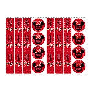 6 Adesivos Minnie Vermelha para Pote de Papinha