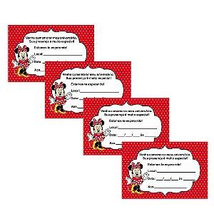 8 Convites Minnie Vermelha 7x10cm