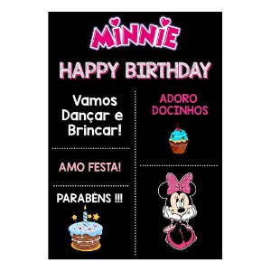 Chalk Board Minnie Rosa 22x32cm - 1 Unidade