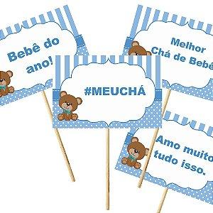 4 Plaquinhas Chá de Bebê Azul 10x15cm