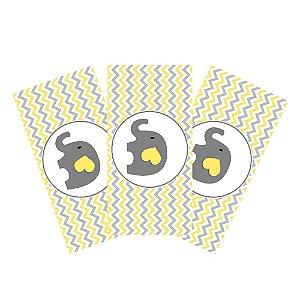 6 Adesivos Chá de Bebê Amarelo Retangular 20x10cm
