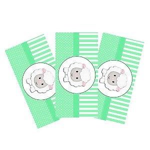 6 Adesivos Chá de Bebê Verde Retangular 20x10cm