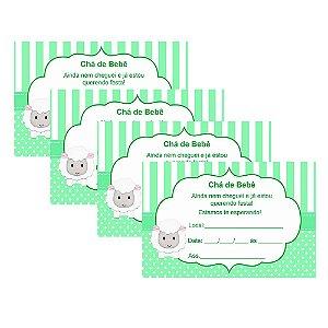 8 Convites Chá de Bebê Verde 7x10cm