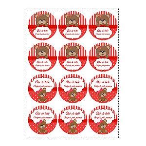 12 Adesivos Chá de Bebê Vermelho Redondo 6,5cm
