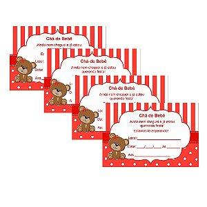 8 Convites Chá de Bebê Vermelho 7x10cm
