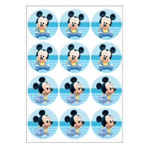 12 Adesivos Mickey Baby Redondo 6,5cm