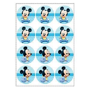 6 Adesivos Mickey Baby Retangular 20x10cm
