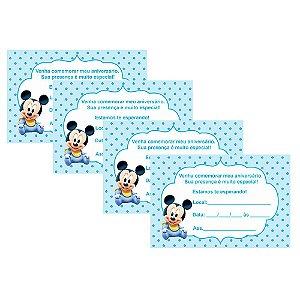 8 Convites Mickey Baby 7x10cm