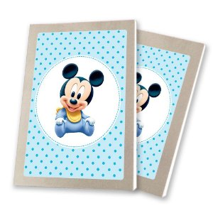 5 Bloquinhos de Papel 25 Folhas Mickey Baby 10,5x7,5cm