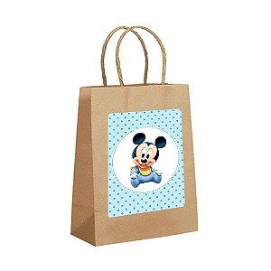 4 Sacolas de Papel Kraft Mickey Baby Tamanho PP