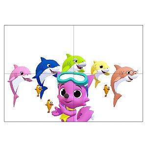 Painel de Festa Decorativo Baby Shark - 1 Unidade