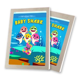 5 Bloquinhos de Papel 25 Folhas Baby Shark 10,5x7,5cm