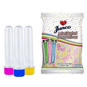 20 Tubetes 12cm tampas plásticas + Balas Coloridas Junco 500g