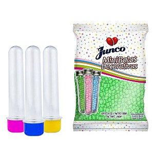 20 Tubetes 12cm tampas plásticas + Balas Sabor Maça Verde Junco 500g