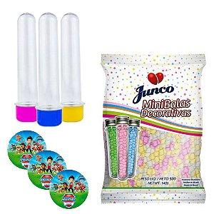 20 Tubetes 13cm tampas plásticas+ Adesivos + Balas Junco 500g