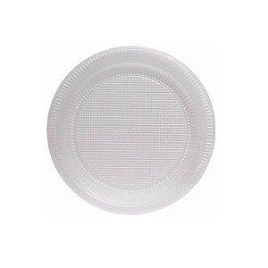 10 Pratos Descartáveis Plástico Branco 15cm
