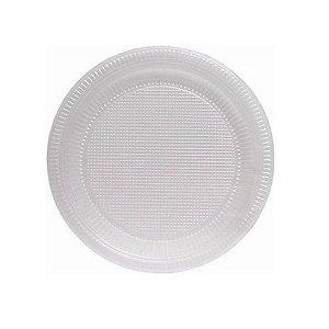10 Pratos Descartáveis Plástico Branco 20cm