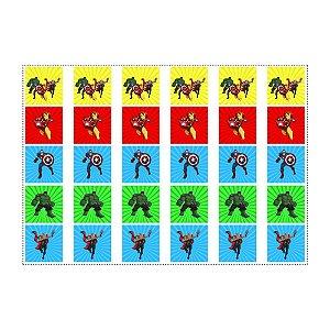 30 Adesivos Vingadores Desenho Quadrado 3,7cm