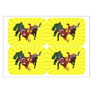 12 Adesivos Vingadores Desenho para Marmitinha 240ml