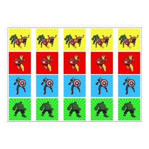 20 Adesivos Vingadores Desenho Quadrado 4,7cm
