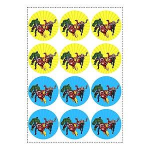 12 Adesivos Vingadores Desenho Redondo 6,5cm