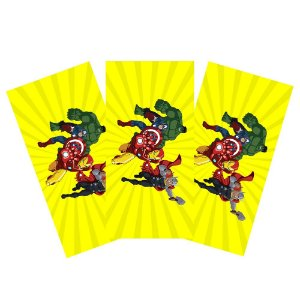 6 Adesivos Vingadores Desenho Retangular 20x10cm