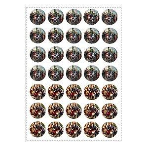 35 Adesivos Vingadores Redondo 3,5cm