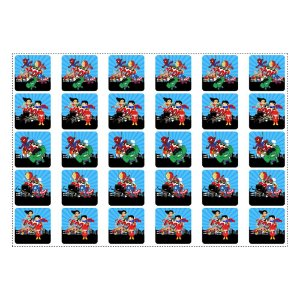 30 Adesivos Super Heróis Baby Quadrado 3,7cm