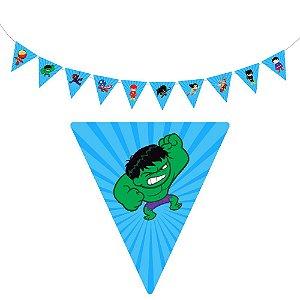 10 Bandeirolas Triangular Super Heróis Baby