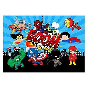 Painel de Festa Decorativo Super Heróis Baby - 1 Unidade