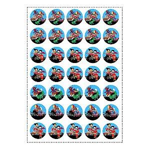 35 Adesivos Super Heróis Baby Redondo 3,5cm
