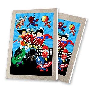 5 Bloquinhos de Papel 25 Folhas Super Heróis Baby 10,5x7,5cm