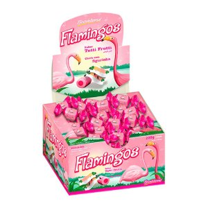 Chiclete com Figurinha Flamingos Sabor Tutti Frutti 200g