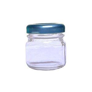Pote de Papinha de Vidro Redondo 40ml Azul - 10 Unidades