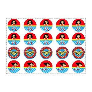 20 Adesivos Mulher Maravilha Baby Redondo 4,7cm