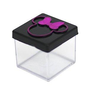 Caixinha Acrílica 4x4 Minnie Preto e Pink - 10 Unidades