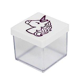 Caixinha Acrílica 4x4 Unicórnio Branco e Pink - 10 Unidades