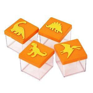 Caixinha Acrílica 4x4 Dinossauros Laranja e Dourado - 8 Unidades