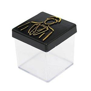 Caixinha Acrílica 5x5 Casamento Noivo Preto e Dourado - 8 Unidades