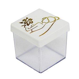 Caixinha Acrílica 5x5 Casamento Noiva Branco e Dourado - 8 Unidades