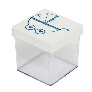 Caixinha Acrílica 5x5 Chá de Bebê Carrinho Branco e Azul - 8 Unidades