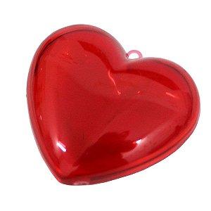 Coração Acrílico Vermelho 10x9 - 3 Unidades