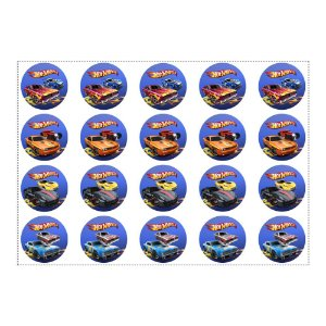 20 Adesivos Hot Wheels Redondo 4,7cm