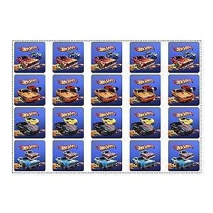 20 Adesivos Hot Wheels Quadrado 4,7cm