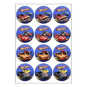 12 Adesivos Hot Wheels Redondo 6,5cm