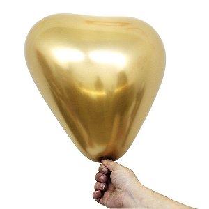 Balão Bexiga Coração Alumínio Dourado N°11 28cm - 6 Unidades