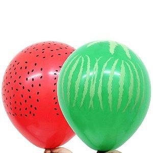 Balão Bexiga Melancia Sortido Nº 11 28cm - 25 Unidades