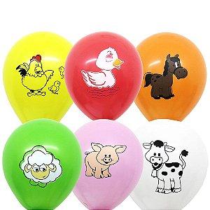 Balão Bexiga Fazendinha Sortido Nº 11 28cm - 25 Unidades