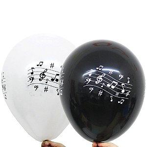 Balão Bexiga Notas Musicais Sortido Nº 11 28cm - 25 Unidades